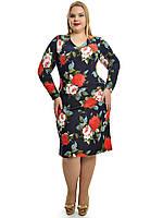 Женское Нарядное  Платье с розами арт 683 (48-62)