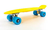 Пенни Борд Желтый 22″ Голубые Колеса / пенниборд скейт (penny board), скейтборд