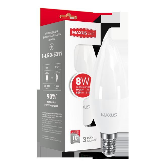 LED лампа MAXUS C37 CL-F 8W 3000K 220V E14 (1-LED-5317)