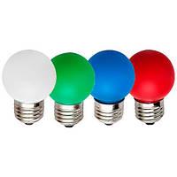 Цветная светодиодная лампа Feron LB37 1W E27 для гирлянды (белая, зелёная, жёлтая, красная, синяя)