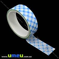 Декоративный скотч бумажный, В полоску, 15 мм, Голубой, 1 катушка (3 м) (DIF-018154)