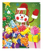Полиэтиленовые пакеты банан новогодние,,Снеговик,, 34-41 см /уп-25 шт