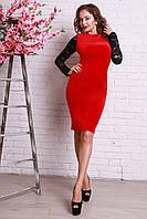 Красное платье с черными рукавами