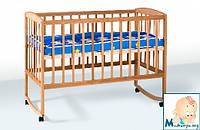Гойдалка детская кроватка из бука на колесах c дугами