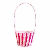 Корзина для цветов розовая с горошками