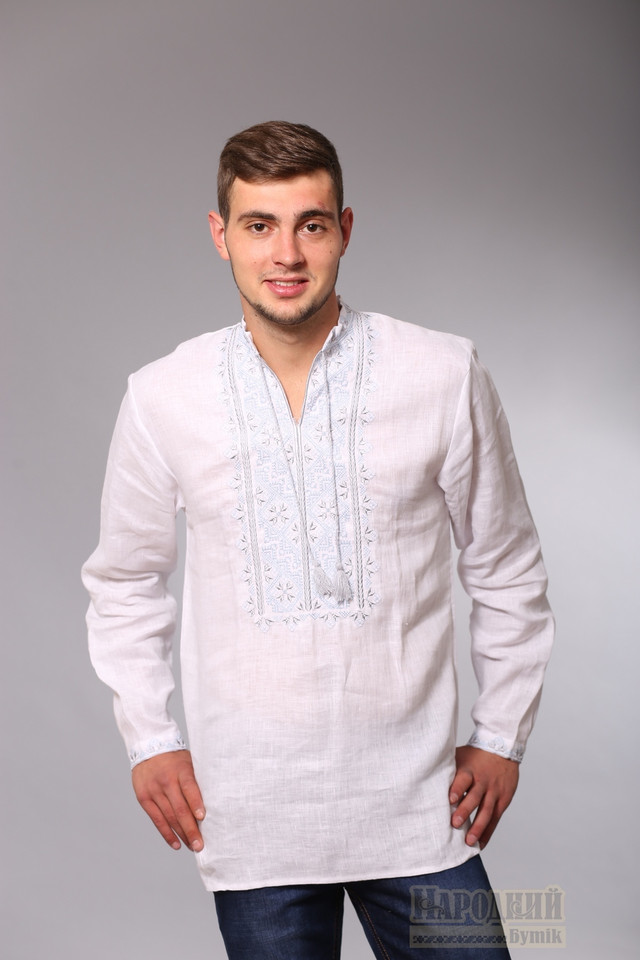 Вышиванка мужская из белого льна