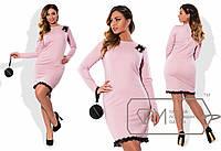 Платье приталенное из трикотажа алекс с узкой полоской кружева по подолу и декором на плече  размер 48-56
