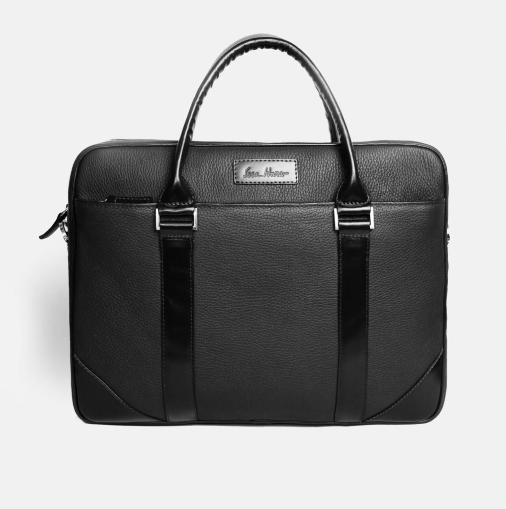 Кожаный мужской портфель Issa Hara B14 черный
