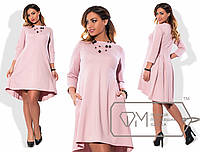 Платье-трапеция  с расклешённой от спинки юбкой и разноуровневым подолом размер 48-54