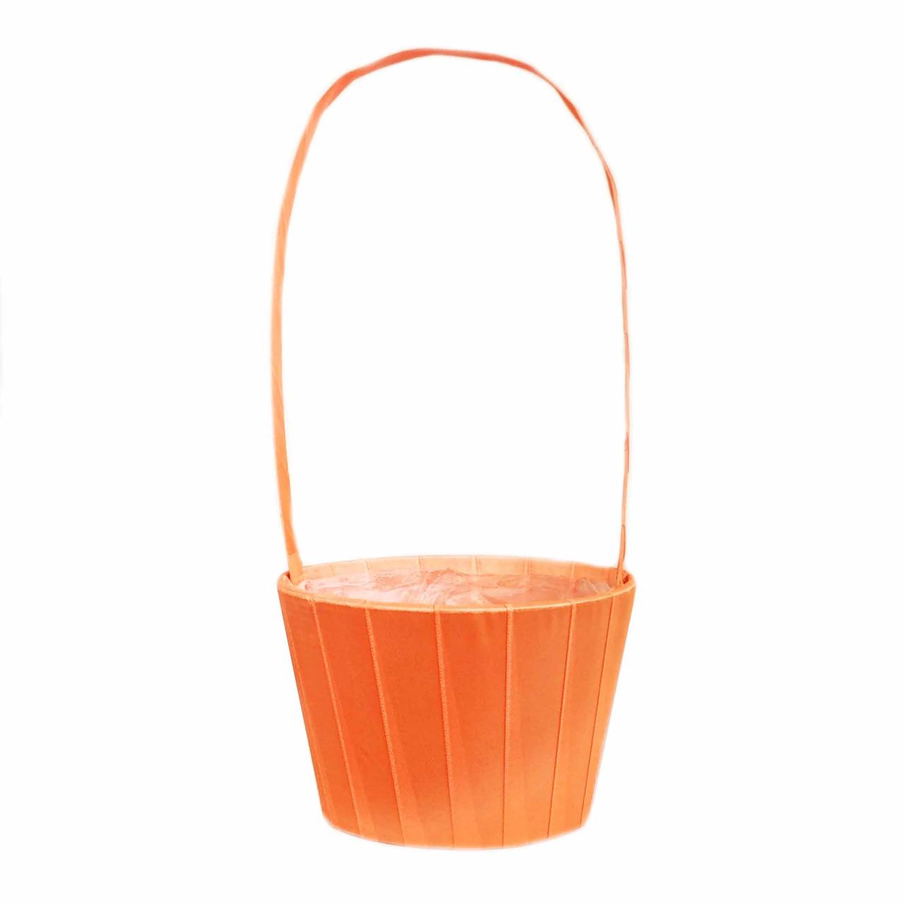 Корзина для цветов из атласа оранжевая