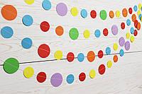 Бумажная гирлянда из кругов, радужный микс