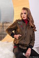 """Женская бомбер с вышивкой """"Army style"""" л-711"""