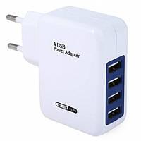 Универсальное зарядное устройство от сети для USB-устройств на 4 порта (ток 2.1A), фото 1