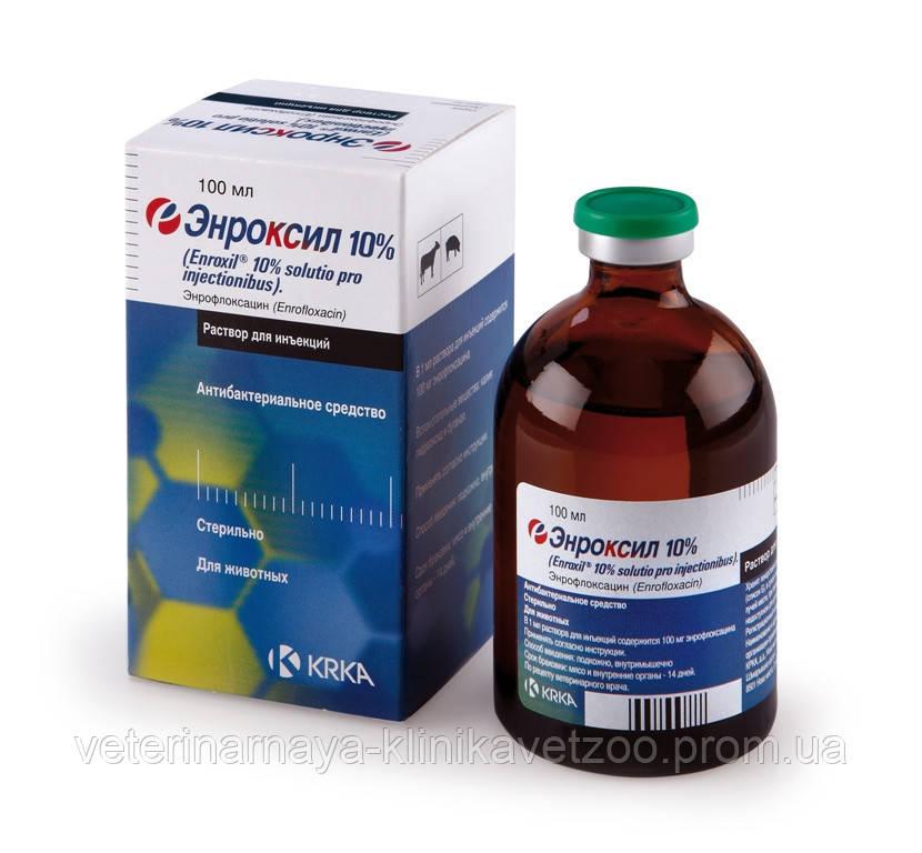 Энроксил 10% 100 мл KRKA (Словения) ветеринарный антибиотик широкого спектра действия