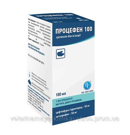 Процефен (цефтиофура гидрохлорид 50 мг; кетопрофен 50 мг) 100 100 мл комплексный ветеринарный антибиотик, фото 2