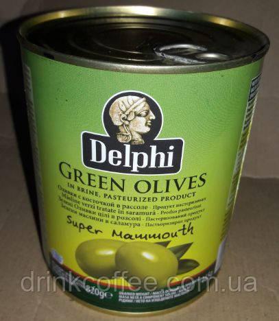 Оливки великі Delphi green olives Греція 820 г