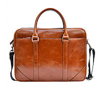 Кожаная мужская сумка Issa Hara B14 коричневая рыжая