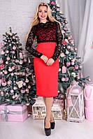 Элегантное женское красное платье  с гипюром  77359  Modus  44-48 размеры