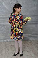 Детское джинсовое платье Яркие цветы