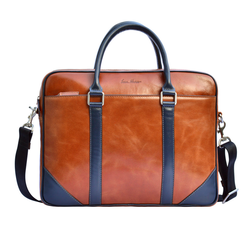 Кожаная мужская сумка Issa Hara B14 коричневая/синяя