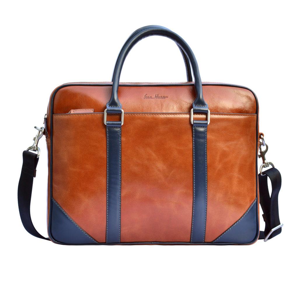 Кожаный мужской портфель Issa Hara B14 коричневый/синий