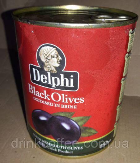 Маслины крупные Delphi Black Olives, Греция, 820g
