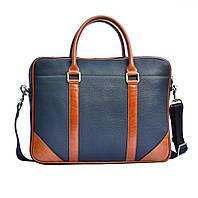 Кожаная мужская сумка Issa Hara B14 синяя/рыжая