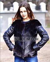 """Куртка с натуральной чёрной кожи и мехом чёрной норки """"Irene"""""""