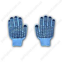 Перчатки х/б 2 сорт (синие.с точкой)