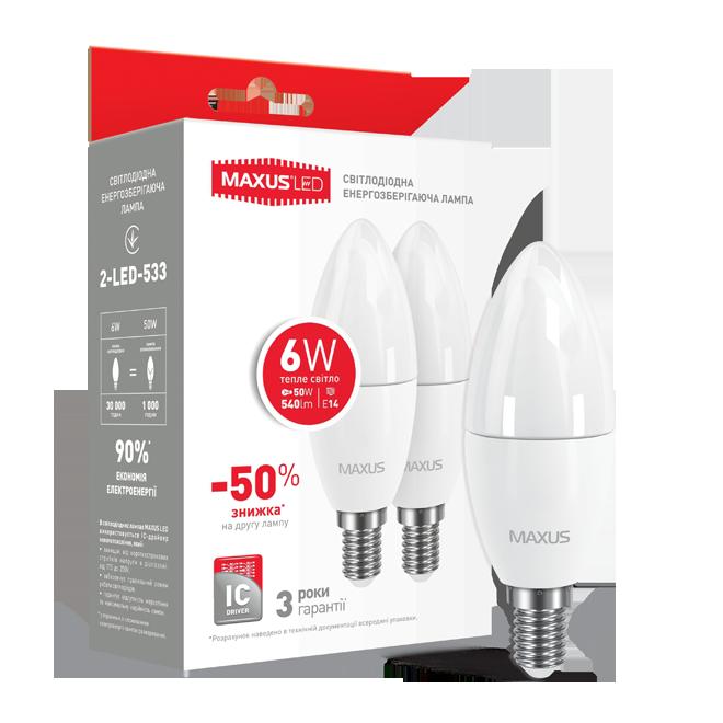 Набор LED ламп MAXUS (по 2 шт.) C37 6W 3000K 220V E14 (2-LED-533)
