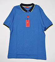 Мужская футболка оптом с воротником-поло синяя с салатовой отделкой