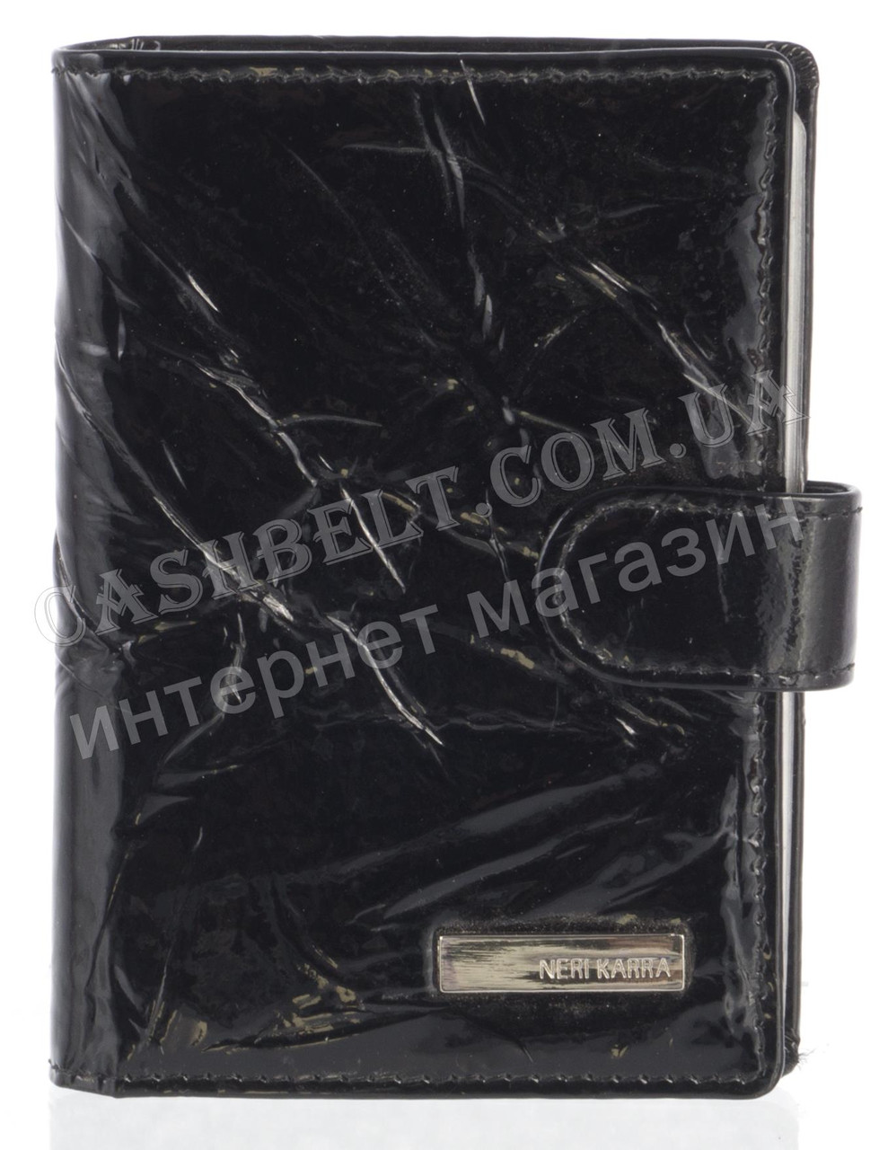 Кожаная лаковая стильная прочная визитница под кожу рептилии NERI KARRA art. 23318-T24BB черный
