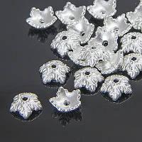 Шапочки для Бусин 5 лепестков, Цветок, Тибетский Стиль, Металл, Цвет: Серебро, Размер: 10х4мм, Отверстие 1мм, (УТ0030409)