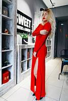 Вечернее платье-макси с высоким разрезом