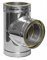 Термоизолированный тройник 90° ф140/200 сэндвич (нержавейка 0,8 мм в нержавейке) на дымоходы, фото 1