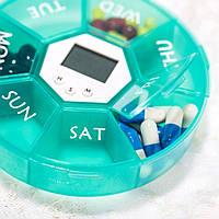 Контейнер на 7 відділень з таймером і тривогою для таблеток, фото 1