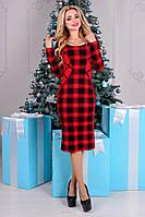 Трикотажное женское черно-красное платье в клетку Альтера Принт Француз Modus  44-48 размеры