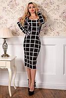 Трикотажное женское черно-белое платье в клетку Альтера Принт Француз Modus  44-48 размеры