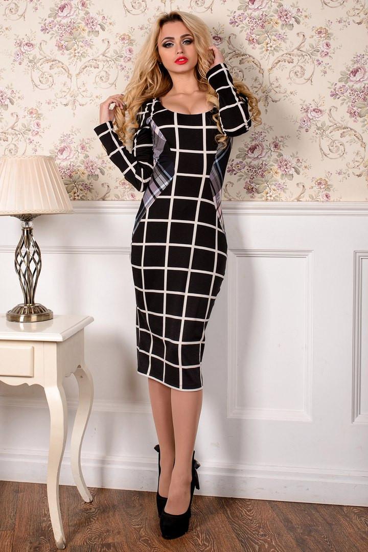 Бело-черная клетка платье