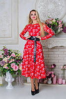 Стильное женское красное платье с поясом  Карен Лайт CHANEL Modus  44-48 размеры