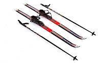 Лыжи беговые в комплекте с палками Zelart SK-1883-120A Красный