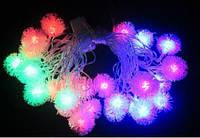 Гирлянда светодиодная Ёжики RGB 30ламп (LED) прозрачный (белый) провод