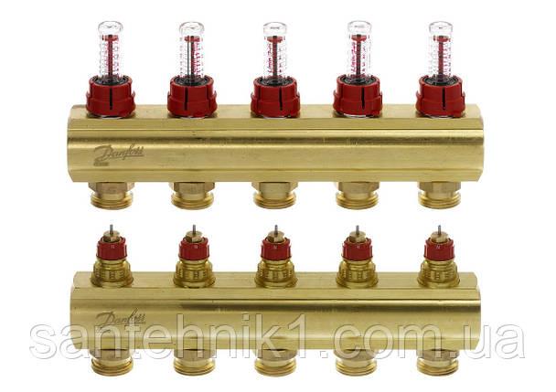Распределительный коллектор Danfoss FHF-5F, с расходомерами на 5 выходов. Арт. 088U0525, фото 2