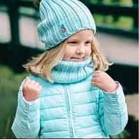 Набір вязаний шапка і шарфік для дівчинки демісезон