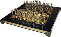 Шахматы в деревянном футляре с фигурами из латуни Греко-Римская война Manopoulos S10BLU