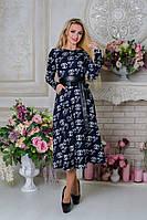 Стильное женское темно-синее платье с поясом  Карен Лайт CHANEL Modus  44-48 размеры