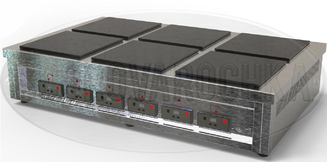 Индукционная Профессиональная Электроплита  - 18 кВт, 6 (шесть) конфорок, настольная