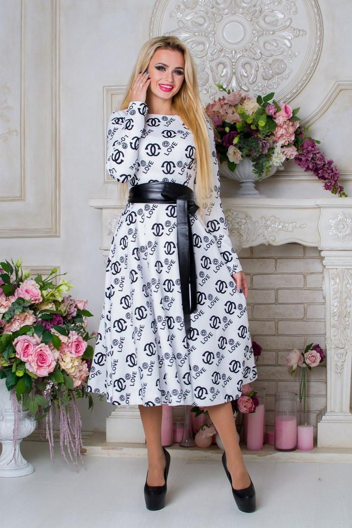 """Стильное женское белое платье с поясом   Карен Лайт CHANEL Modus  44-48 размеры - Интернет-магазин одежды """"Варвара"""" в Сумской области"""