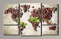 Картина модульная на холсте Карта кофе