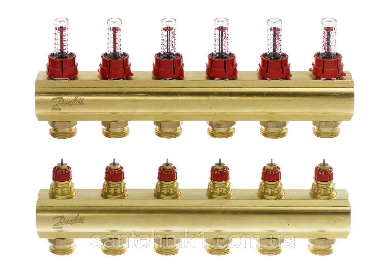Распределительный коллектор Danfoss FHF-6F, с расходомерами на 6 выходов. Арт. 088U0526